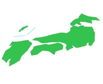 斜めから見たポップな日本地図のイラストイメージ