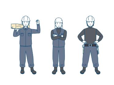 大工 土方 親方 職人 男性 労働者 全身 イラスト素材