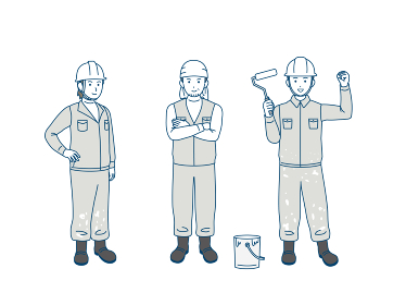 塗装職人 塗装工 ペンキ屋 親方 男性 労働者 全身 イラスト素材