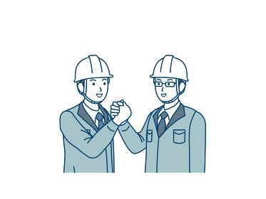 握手をする 現場監督 建築士 工場長 男性 協力 スケット イラスト素材