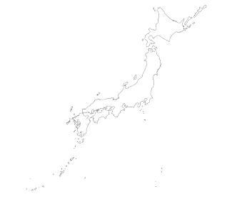 詳細な白抜きの日本地図