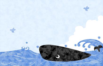 夏の背景素材、海と青空と鯨