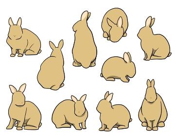 おすわりウサギ 短耳 オレンジセット