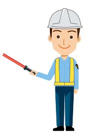 働く人交通誘導員ガードマン警備員のイラスト直立赤い誘導灯制服笑顔安全反射ベスト