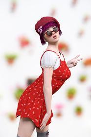 赤いベレー帽をかぶったピンクのショートカットの女の子が赤いワンピースを着てピースサインをしているポーズ