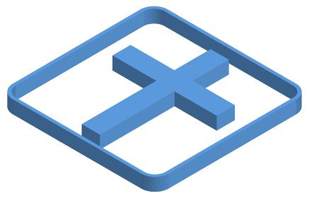 十字架の青いアイソメトリックイラスト