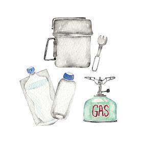 登山 アウトドア キャンプ 道具 アイテム クッカー 調理 水彩 イラスト