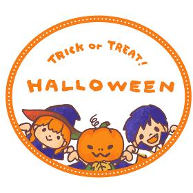 ハロウィンの仮装をした子供たち(ジャックオランタン・魔女・吸血鬼)のベクターイラスト 円形フレーム