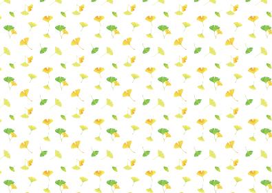 おどるイチョウの葉。水彩イラスト 背景素材 A4、A3比率(白背景)
