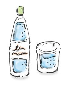 和風手描きイラスト素材 炭酸水 ソーダ水