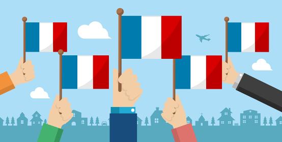 手持ち国旗 バナーイラスト ( 愛国心・イベント・お祝い ・デモ) / フランス