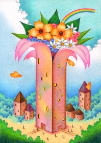 花が咲く建物