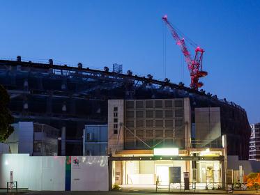 新国立競技場 建設中 夜景 2017年12月撮影