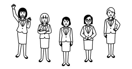 ビジネスチーム 女性 5人