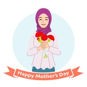 カーネーションを持って微笑む母親 ムスリム - 母の日コンセプトイラスト