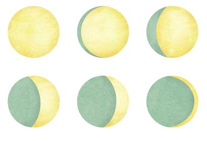 月の満ち欠け 三日月から満月のイラストセット 緑の和紙