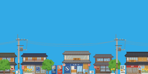 日本の夏の街並みの風景ベクターイラスト横(背景、コピースペース、青空)