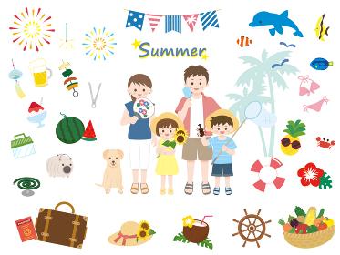 家族と夏休みのイラスト素材集