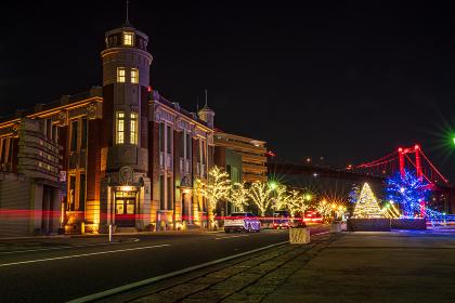 若松南海岸通りのイルミネーション夜景