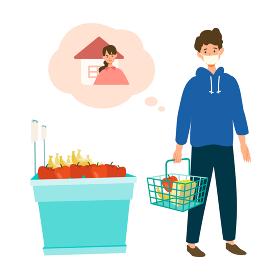 【新しい生活様式】一人で買い物をする男性
