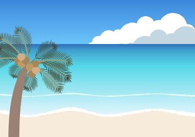 ヤシの木と青い海のイラスト