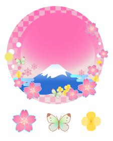 春の富士山・桜・蝶のフレームとアイコンのセット