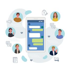 ITコミュニケーション ビジネスコンセプト スマートフォンと若者のイラスト