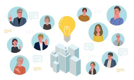 コミュニケーション ビジネスコンセプト ビルと人々のイラスト