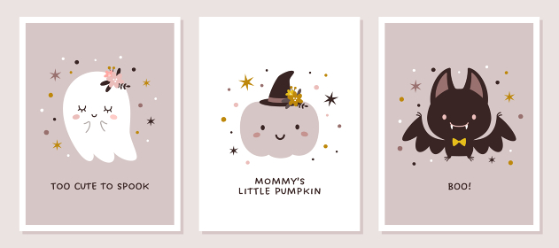 かわいいハロウィンキャラクター、子供部屋などのポスターセット