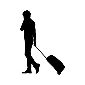 歩いている人物・歩行者 全身(横向き)シルエットイラスト/ カバンを転がす旅行者
