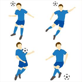 サッカーをする男性シンプルセット02