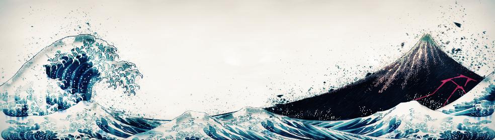 神奈川沖浪裏&山下白雨 白バックロングバージョン