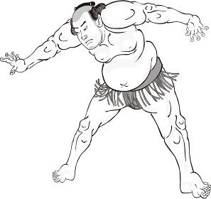 浮世絵 相撲取り その15 白黒