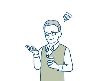 錠剤 サプリ 薬が飲めない 年配の男性 シニア 高齢者 困る 不安 悩む イラスト素材