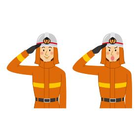 消防士の敬礼ポーズ