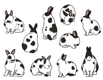 おすわりウサギ 短耳 ブロークンセット