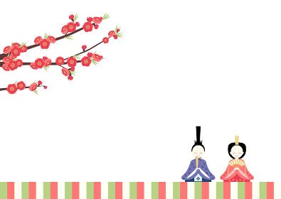 ひな祭り(桃の節句) お内裏様とお雛様と桃の花