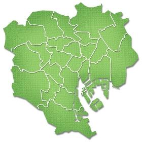 ペーパークラフト調の東京23区の境界線入り地図