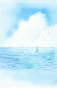海とヨット 水彩画
