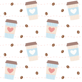 コーヒーカップとコーヒー豆のシームレスパターン