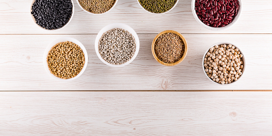 Top view superfood assortment in a various bowls