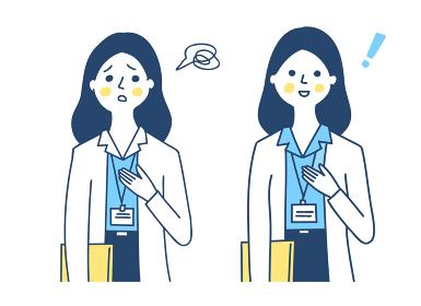 IDカードホルダーを胸に下げた女性 2表情