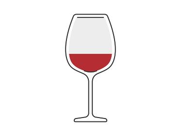 ワイングラスに入った赤ワインのイラスト