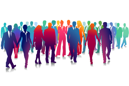 group of people on white,illustration