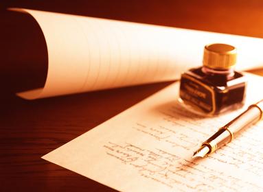 万年筆と手紙とインク