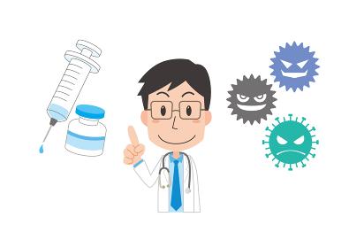 ワクチン接種の説明をする男性医師