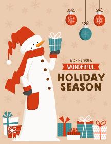 スノーマンとプレゼント、オーナメントのクリスマスカードデザイン
