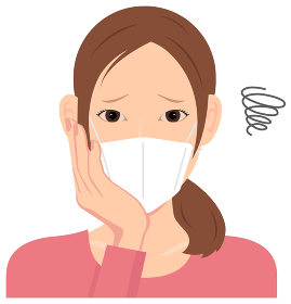 マスクを着けた若い女性 (上半身) イラスト(困っている) / コロナウイルス・インフルエンザ