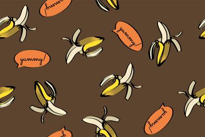 シームレスのバナナのイラストの連続柄(手描き・コメント欄) 夏のイメージ|テキスタイル