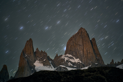 night of stars in the Fitz Roy hill in Patagonia Argentina